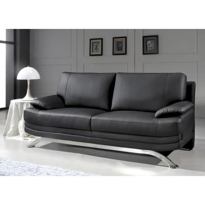 canap 3 places en cuir noir design pied chrom achat vente canap sofa divan cuir bois. Black Bedroom Furniture Sets. Home Design Ideas