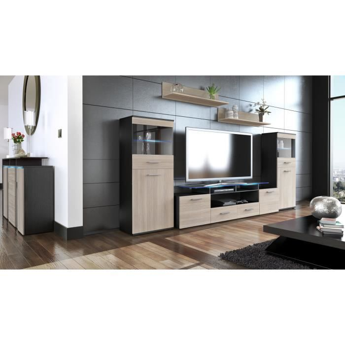 ensemble de 3 meubles tv noir et champagne achat vente meuble tv ensemble de 3 meubles tv no. Black Bedroom Furniture Sets. Home Design Ideas