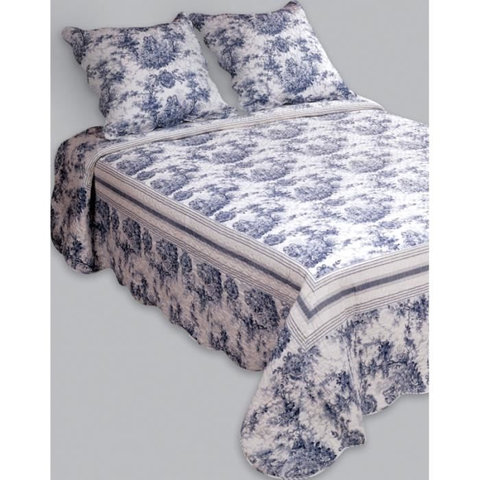 couvre lit boutis 2 places fragonard bleu achat vente. Black Bedroom Furniture Sets. Home Design Ideas