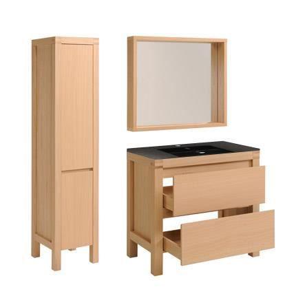 ensemble miroir vasque meuble sous vasque colonne coloris ch ne achat vente salle de. Black Bedroom Furniture Sets. Home Design Ideas