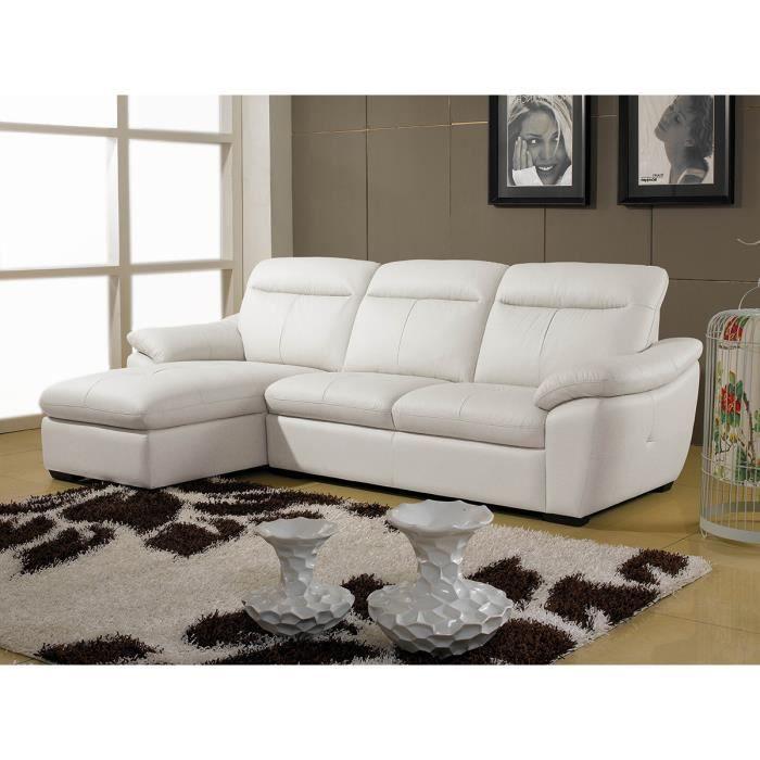 Canap cuir angle almera gauche blanc achat vente canap sofa div - Canape angle gauche cuir ...