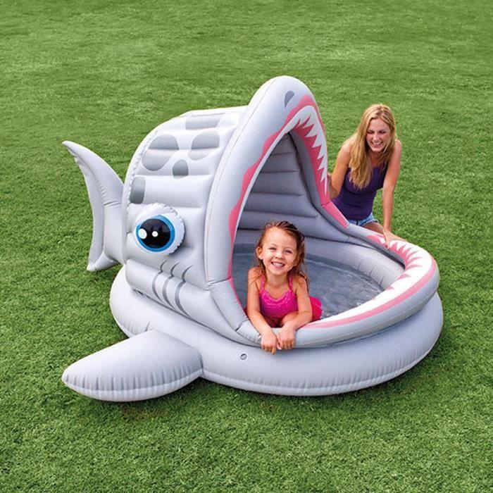 Paris prix piscine gonflable enfant shark gris achat for Piscine enfant intex