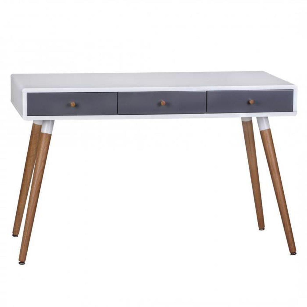retro table console blanc gris scanio avec 3 tiroirs pieds oak achat vente console. Black Bedroom Furniture Sets. Home Design Ideas