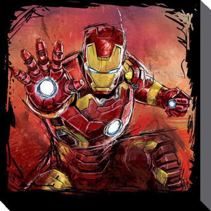 Avengers poster reproduction sur toile tendue sur ch ssis for Maison d iron man
