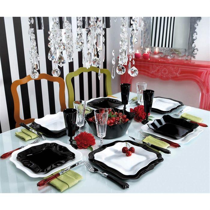 Luminarc authentic noir blanc service 19 pi ce achat for Service de table carre