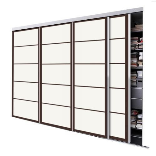 Tixelia porte de placard coulissante kyoto 4 vantaux hauteur 240 cm x lar - Hauteur porte coulissante ...