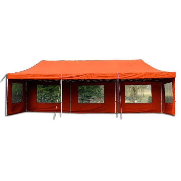 tente pliable avec 8 murs alu 9mx3m orange achat vente abri jardin chal. Black Bedroom Furniture Sets. Home Design Ideas