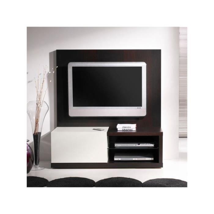 meuble tv wengu laqu blanc dos blanc et weng achat vente meuble tv meuble tv wengu. Black Bedroom Furniture Sets. Home Design Ideas