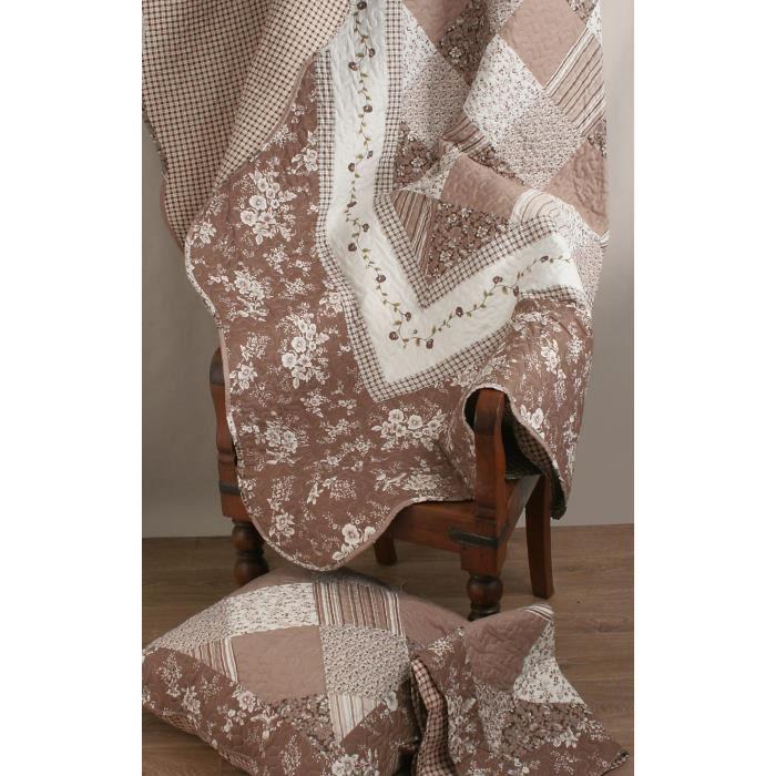 couvre lit boutis 230x250 2 taies 63x63 cm motif plac patchwork floral sienne et ecru. Black Bedroom Furniture Sets. Home Design Ideas
