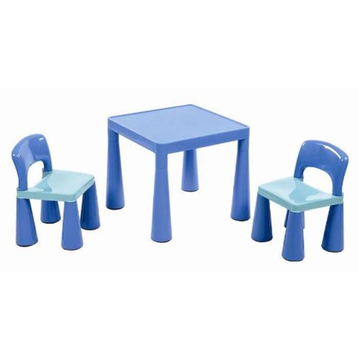 table pour les enfants avec 2 chaises bleu dim 51 x 51 x 45 5 cm achat vente fauteuil. Black Bedroom Furniture Sets. Home Design Ideas