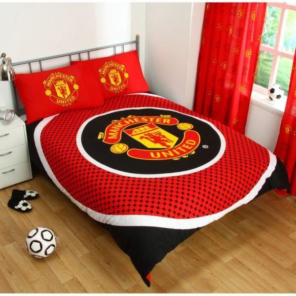 housse de couette manchester united 2 places rouge achat. Black Bedroom Furniture Sets. Home Design Ideas