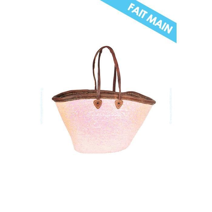 panier de plage marocain brod main rose pastel achat vente panier sac de plage panier. Black Bedroom Furniture Sets. Home Design Ideas