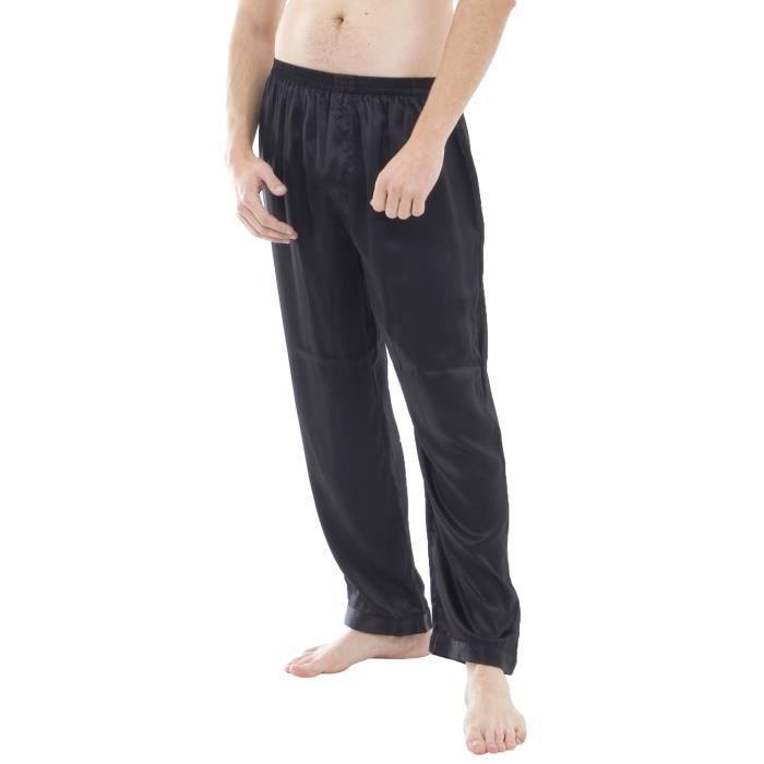 pantalon de pyjama de soie cou noir noir achat vente chemise de nuit cdiscount. Black Bedroom Furniture Sets. Home Design Ideas