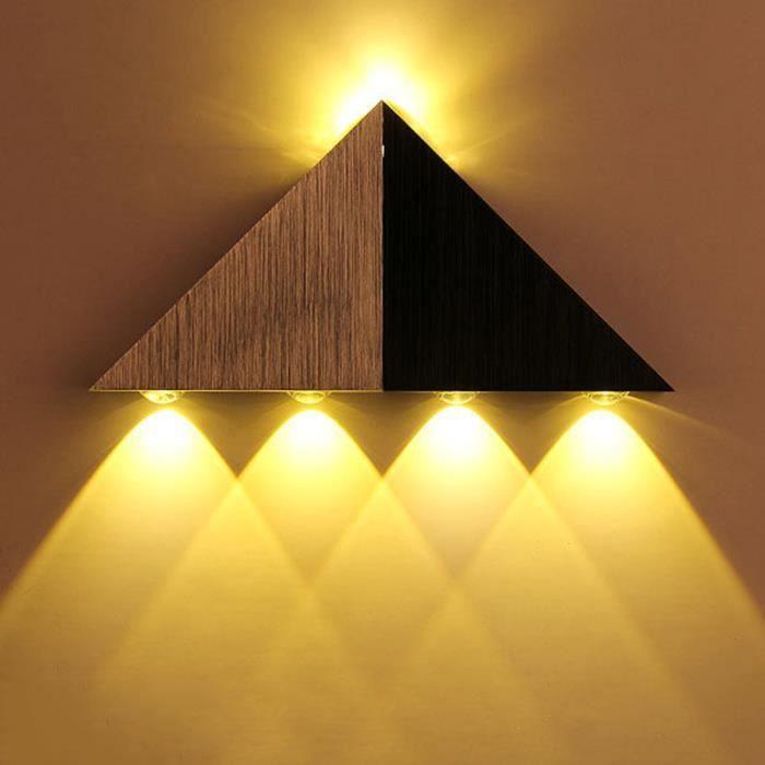 Applique murale en aluminium 5w lampe led triangle de mur for Lumiere decorative exterieure