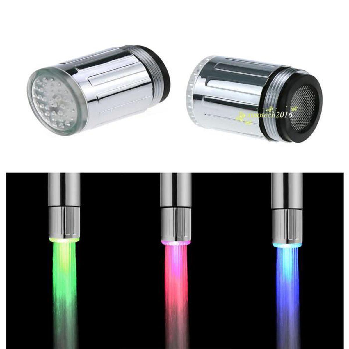 3 couleurs lumi re led de robinet avec capteur de - Temperature salle de bain ...