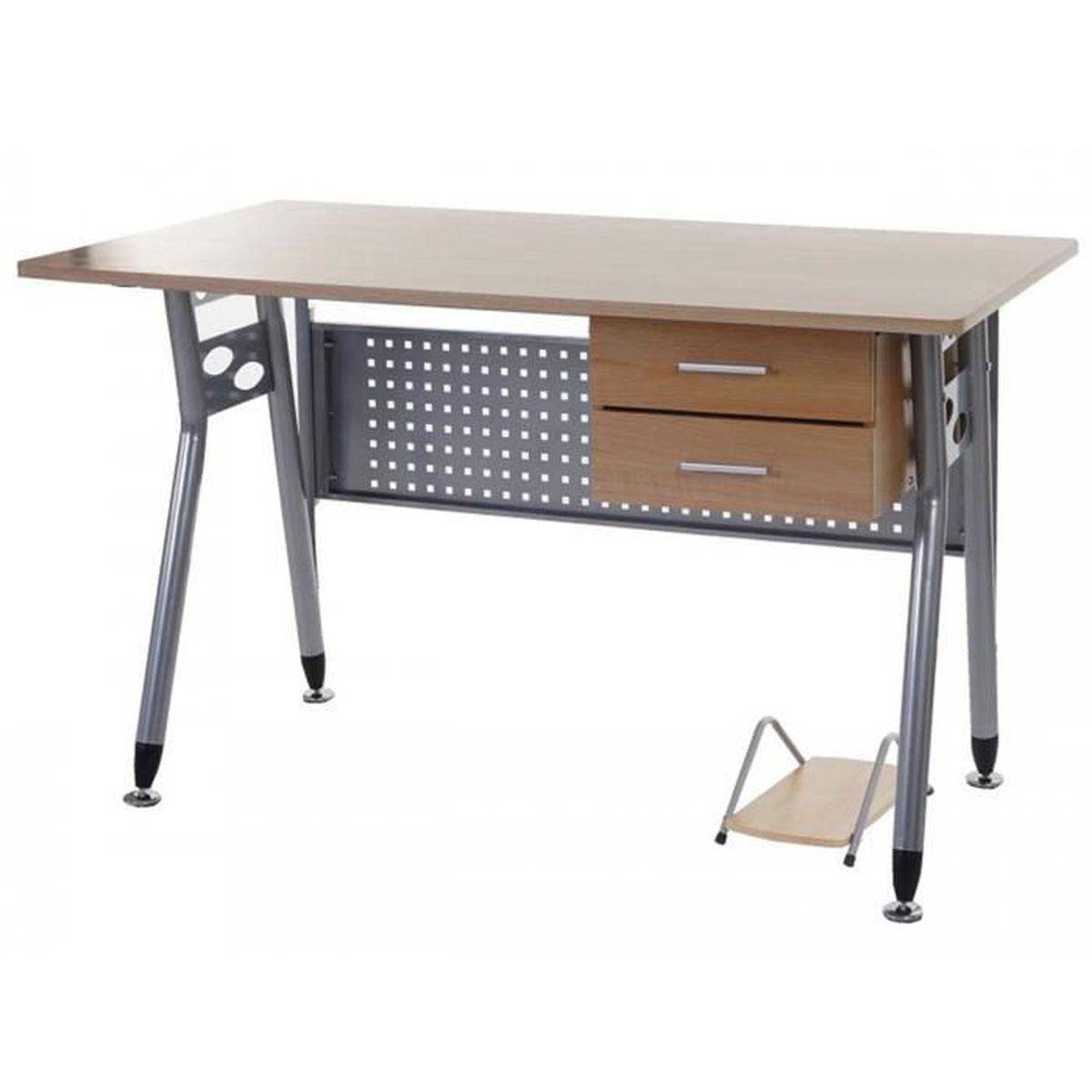 Meuble de bureau coloris h tre dim p 70 x l 120 x h 73 for Meuble bureau hauteur 70 cm