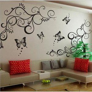 STICKERS Noir Fleur De Vigne Stickers Muraux Decoration Int