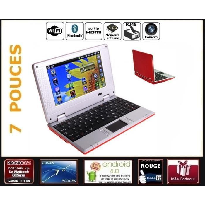 mini ordinateur portable netbook rouge cran 7 pouces android 4 0 wifi 4go hdmi webcam. Black Bedroom Furniture Sets. Home Design Ideas