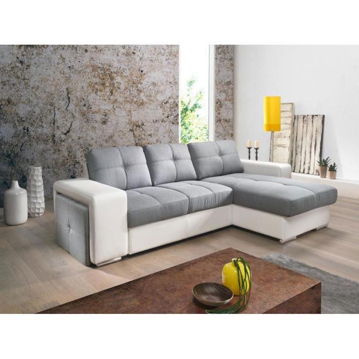 canap d 39 angle convertible gris et blanc pu et tissu mario. Black Bedroom Furniture Sets. Home Design Ideas