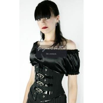 Serre taille noir vynil m tal rock gothique l achat vente porte jarretelle 2009966503196 - Serre taille porte jarretelle ...