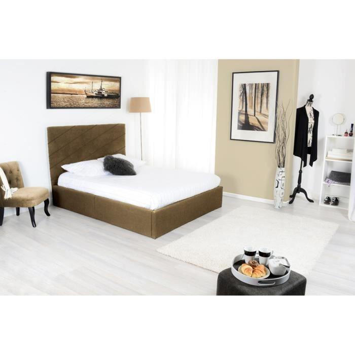 lit coffre avec sommier tissu 160 x 200 cm taupe rakil achat vente structure de lit. Black Bedroom Furniture Sets. Home Design Ideas