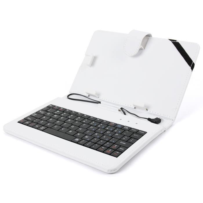 etui aspect cuir blanc avec clavier int gr anglais pour. Black Bedroom Furniture Sets. Home Design Ideas