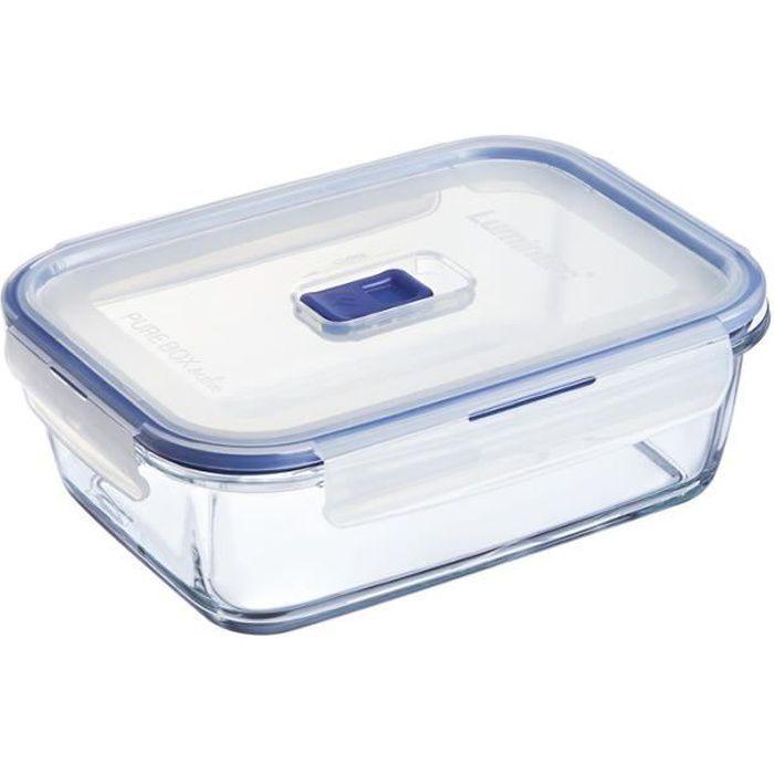 luminarc boite rectangle pure box active 122 cl couvercle transparent et bleu achat vente. Black Bedroom Furniture Sets. Home Design Ideas
