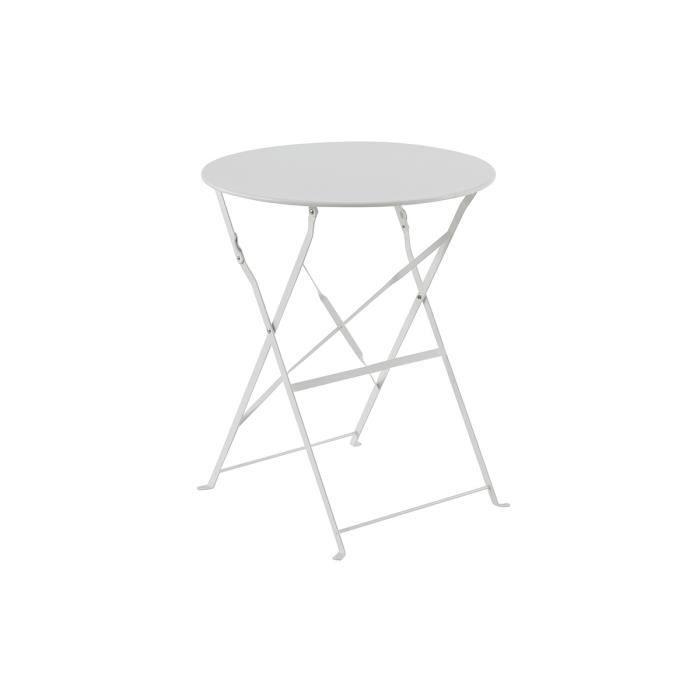 Table De Jardin Olivia Ronde Blanche 2 Places 60 X 71 Cm