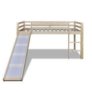 Lit mezzanine bois massif achat vente lit mezzanine bois massif pas cher cdiscount - Toboggan pour lit ...