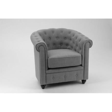 Fauteuil chesterfield tissu coton gris pieds noirs amadeus achat vente fa - Fauteuil chesterfield tissu ...