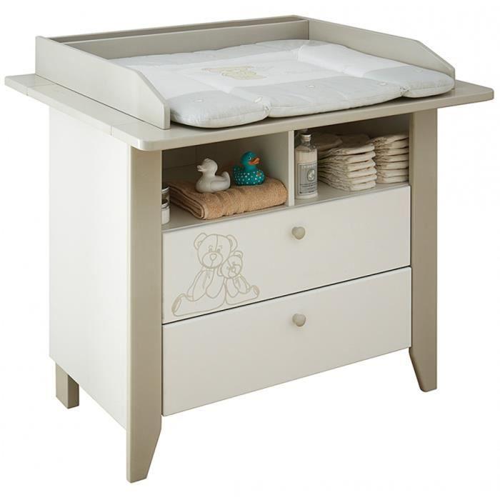 commode table langer avec 2 tiroirs et 2 niches coloris blanc l107 x h102 2 x p90 3 cm. Black Bedroom Furniture Sets. Home Design Ideas