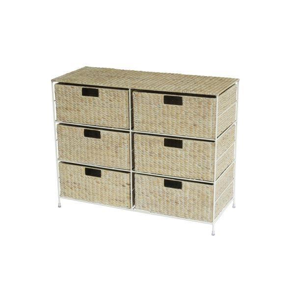 Meuble de rangement 6 tiroirs en osier nomade achat for Petit meuble de rangement tiroir