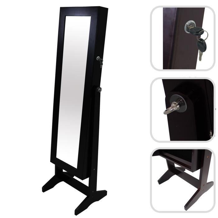 Armoire bijoux avec miroir noire achat vente armoire de chambre armoi - Miroir avec porte bijoux ...