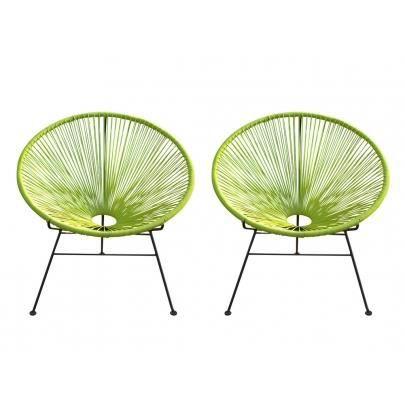 Lot de 2 chaises de jardin alios en fils de r sine tress s anis achat vente fauteuil - Fauteuil en fil de resine ...