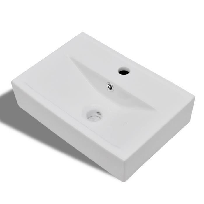 eviers et lavabos vasque a trou de trop plein robinet ceramique blanc pour salle de bain achat. Black Bedroom Furniture Sets. Home Design Ideas