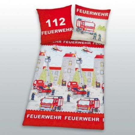 parure de lit housse de couette pompier achat vente parure de couette cdiscount. Black Bedroom Furniture Sets. Home Design Ideas