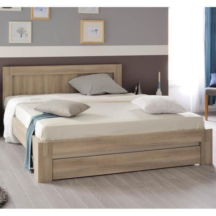 paris prix lit adulte 160x200cm luxor ch ne curtiss beige achat vente structure de lit. Black Bedroom Furniture Sets. Home Design Ideas