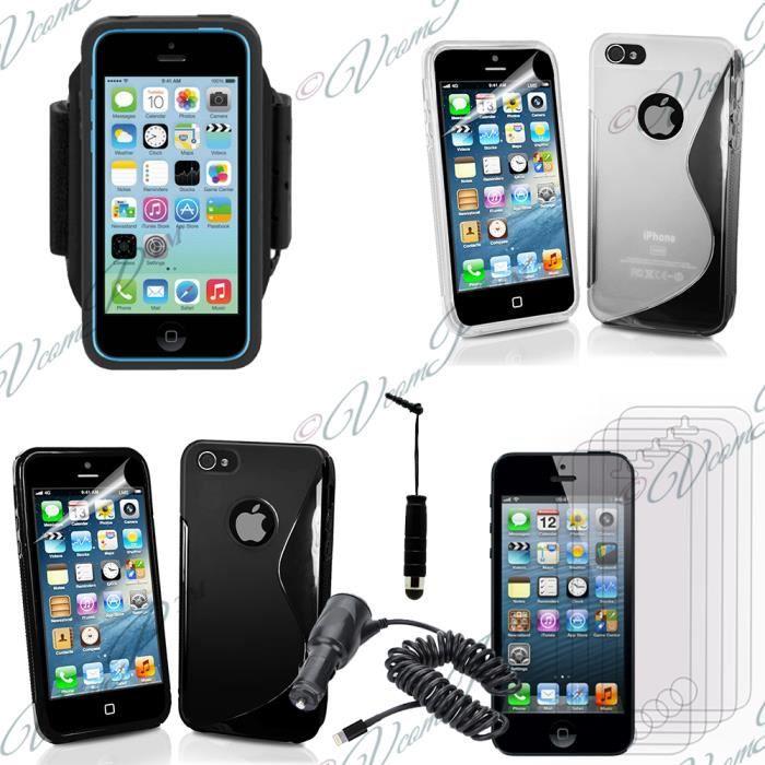 pour apple iphone 5 5s noir lot coque etui housse pochette accessoires silicone gel films. Black Bedroom Furniture Sets. Home Design Ideas