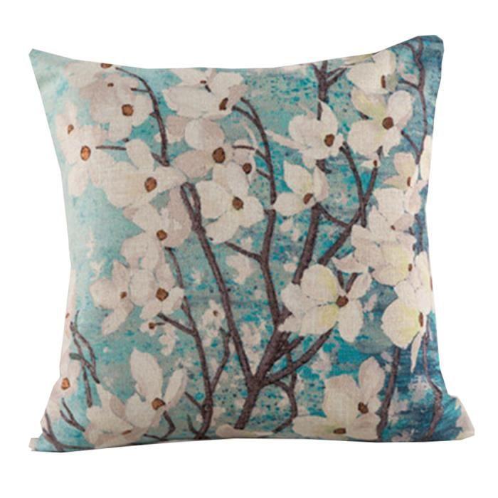 go4u maison canap d cor polyester coton taie oreille housse de coussin 45 45cm prune fleur. Black Bedroom Furniture Sets. Home Design Ideas