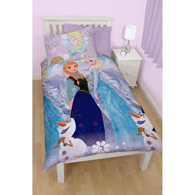 parure de couette la reine des neiges achat vente parure de couette soldes d t cdiscount. Black Bedroom Furniture Sets. Home Design Ideas