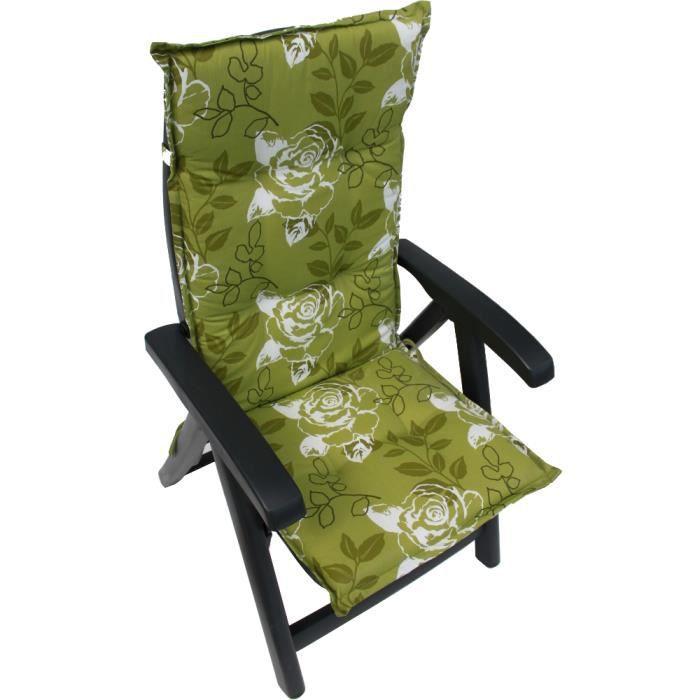 Coussin fauteuil vert roses r versible lavable achat - Coussin fauteuil exterieur ...