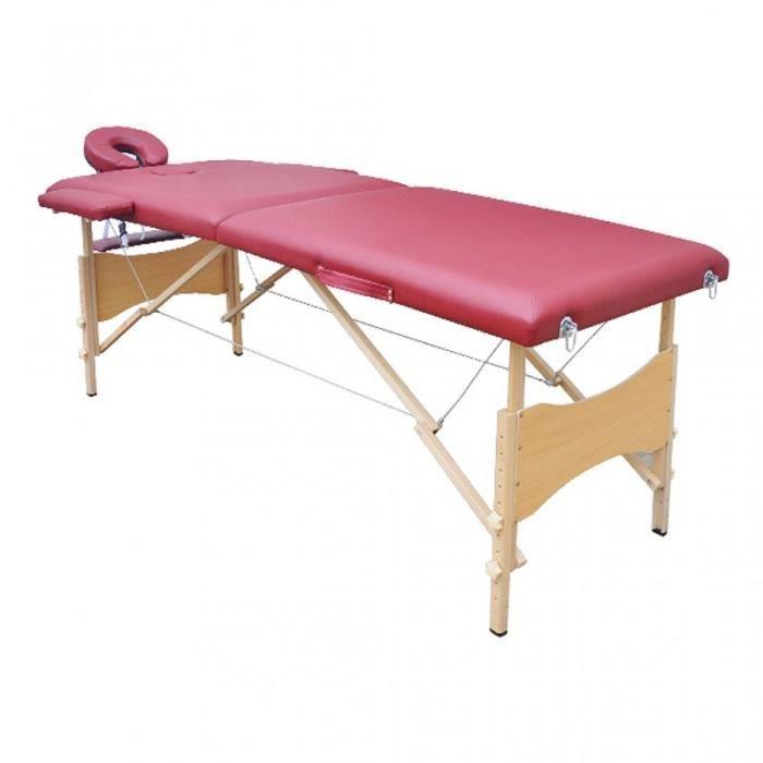 table de massage 2 zones rouge pliante bois 2002022. Black Bedroom Furniture Sets. Home Design Ideas