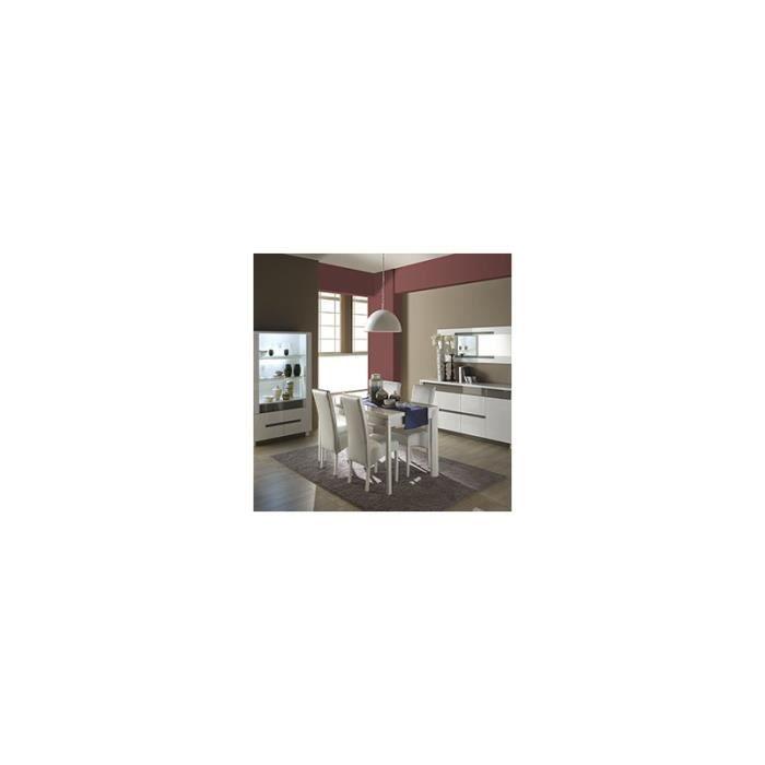 Salle manger compl te blanc et gris laqu e design for Table a manger 160 cm avec rallonge