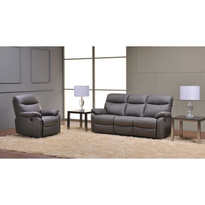 Canap relaxation 3 1 places switsofa swan gris achat vente canap sofa - Canape relaxation 3 places ...
