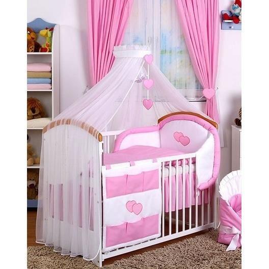 ciel de lit voile blanc coeurs en rose et sa fl ch blanc. Black Bedroom Furniture Sets. Home Design Ideas