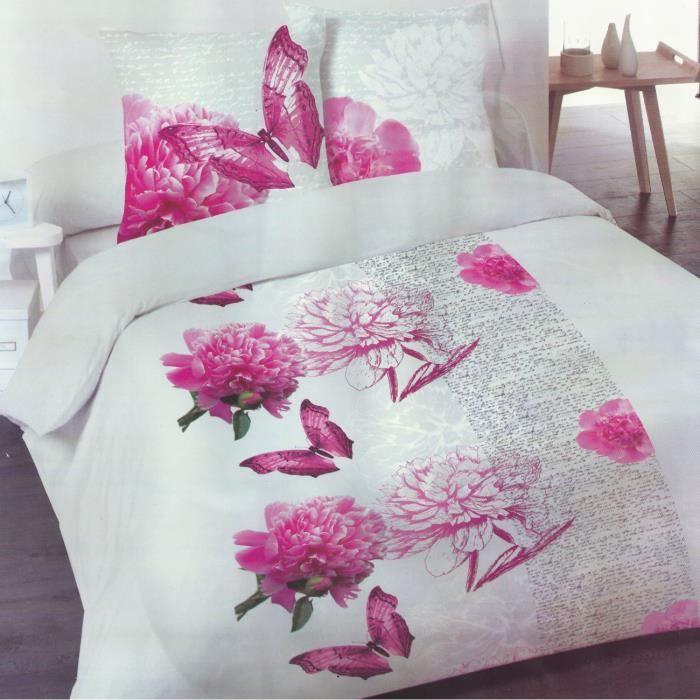 parure de lit 100 coton valentina rose 2 personnes 4 pi ces achat vente parure de drap. Black Bedroom Furniture Sets. Home Design Ideas