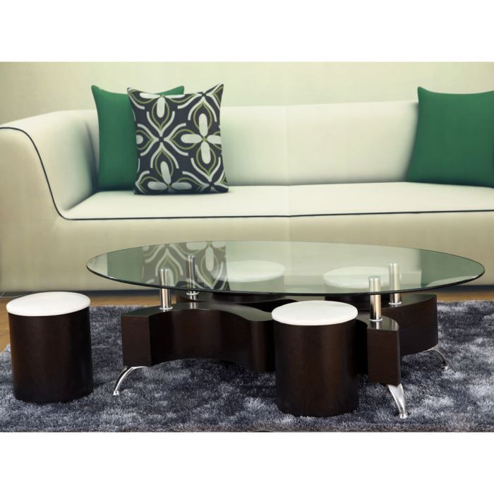 table basse ronde en verre alina achat vente table. Black Bedroom Furniture Sets. Home Design Ideas