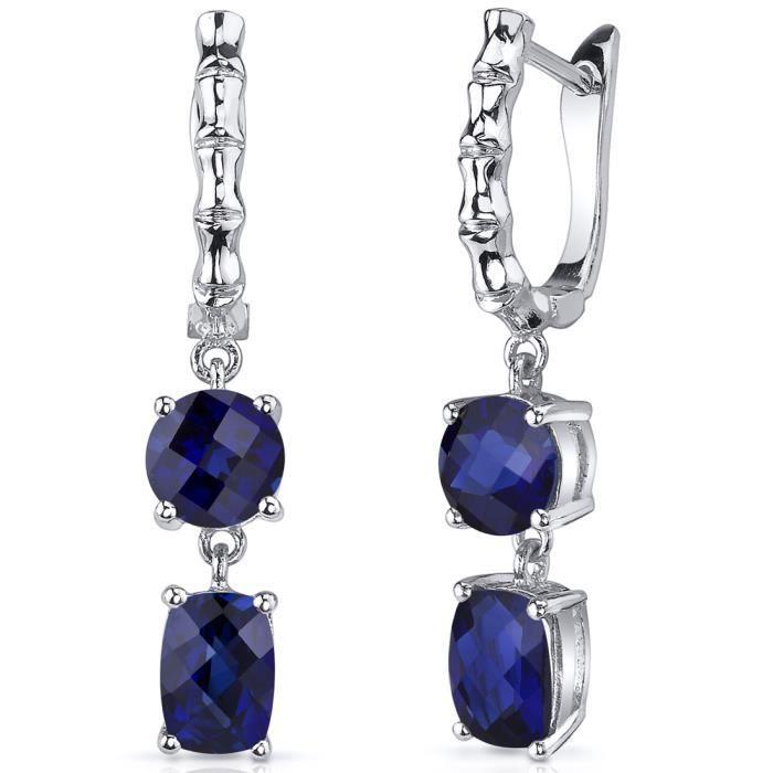 boucles d 39 oreille femme argent saphir bleu achat vente boucle d 39 oreille boucles d. Black Bedroom Furniture Sets. Home Design Ideas