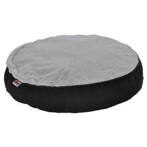 AMI CONFORT Coussin rond déhoussable design polaire 60x8 cm - Noir et gris - Pour chien