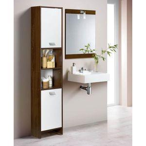 TOP Colonne de salle de bain 39cm - Décor wengé et blanc